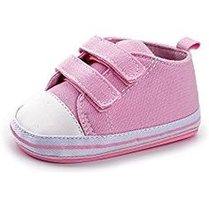 Enteer Baby Girls' Classic Solid Colors Rubber Canvas Shoes with Hook&Loop for 13-18Months Pink
