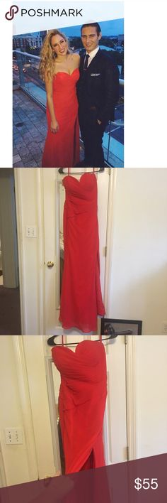 Bright Red Strapless Gown or Prom Dress I really wanted a curvy bright red strapless dress with a high slit...so I had one custom made! I wore it to a ball and that's it. Excellent condition. I just don't plan to wear it again. It's like a 2-4 Dresses Prom