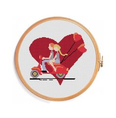 Etsy listing at https://www.etsy.com/listing/180379311/scooter-love-cross-stitch-pattern