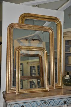 19th C. French Louis Philippe mirrors with gold gilt.