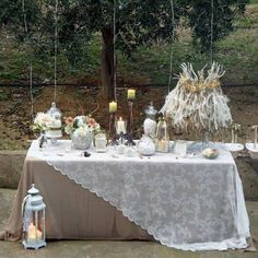 In love with the tablecloth idea Diy Wedding, Rustic Wedding, Wedding Day, Bridal Shower Decorations, Wedding Decorations, Dessert Bar Wedding, Dessert Table Decor, Elegant Table Settings, Wedding Table Centerpieces