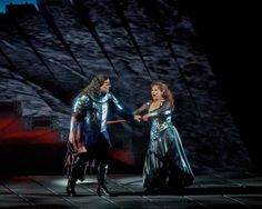 """This April 28, 2012  photo provided by the Metropolitan Opera shows Bryn Terfel as Wotan and Katarina Dalayman as Brunnhilde in a performance of Wagner's """"Die Walkure."""" On May 12 the Met concludes the last of three complete presentations of Robert Lepage's production of the four-opera Ring Cycle, which includes Das Rheingold; Die Walkure; Siegfried and Gotterdammerung. Photo: The Metropolitan Opera, Ken Howard / AP"""