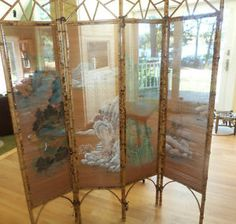 chinese screens room dividers | ... Bamboo Room Divider Screen Hand Painted…