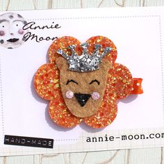 King Lion Circus Sparkle Hair Clip by AnnieMoonPretties on Etsy