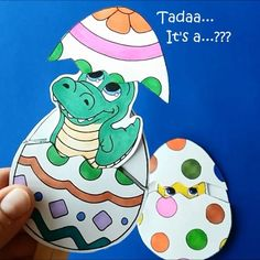 Hattifant's Easter Surprise Eggs - Such fun to color, craft and play with - FREE printable - Easter craft - paper craft - paper toy   Hattifant