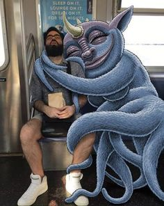 ~~ Artist Adds Funny Monsters Next To Strangers On The Subway ~~