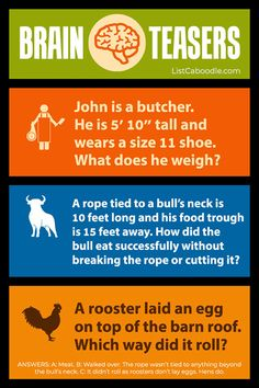 Brain Teasers Riddles, Brain Teasers For Kids, Best Brain Teasers, Fun Brain, Brain Gym, Jokes For Kids, Kid Jokes, School Jokes, Brain Breaks Middle School