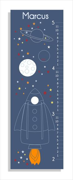 Rocket Blast Off Growth Chart, vinyl decal, children's art, wall art, nursery wall art, canvas prints. $35.00, via Etsy.