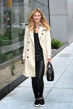 Classic + Edgy: Whit styles a classic, neutral Burberry trench coat with leather pants Burberry Trench Coat, Trench Coats, Great Bands, Fashion Forward, Leather Pants, Layers, Polka Dots, My Style, Casual