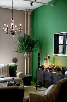 green accent wall, g