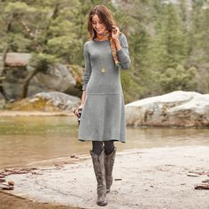 """TIERNEY DRESS--Our easy-fit and oh-so-flattering, mid-length dress features contrasting rib knits, a flared skirt and scoop neckline. Pull-on. Merino wool/nylon/spandex. Hand wash. Imported. Exclusive. Sizes XS (4 to 6), S (8 to 10), M (12 to 14), L (16), XL (18). Approx. 39""""L."""