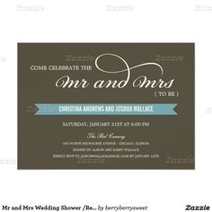 Mr and Mrs Wedding Shower /Rehearsal Dinner Invite