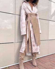 Commuting Turndown Collar Splicing Striped Dress Suit 2019 Striped Shirt Dress With Plain Skirt Suit – Zillalike Cl Fashion, Stripes Fashion, Look Fashion, Fashion Dresses, Womens Fashion, Fashion Design, Asian Fashion, Modest Fashion, Fashion Tips