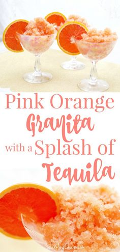 Pink Orange Granita with a Splash of Tequila #CaraCaraOranges #Granita #Tequila #SummerCocktails