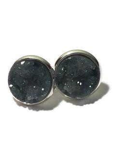 Charcoal studs,  Druzy studs, druzy studs, gray studs, charcoal, dark gray, silver, gold, drusy studs, earrings, DBKL106
