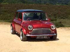 Classic mini in red with black roof - love the colour combination