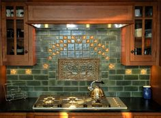 Terra Firma Ltd. - backsplash - Terra Firma Ltd. Craftsman Tile, Craftsman Interior, Craftsman Kitchen, Craftsman Style Homes, Craftsman Bungalows, Craftsman Decor, Craftsman Bathroom, Modern Craftsman, Arts And Crafts Interiors