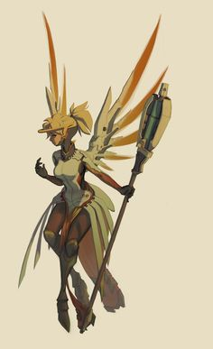 """tasteslikeanya: """"Mercy's design is surprisingly inspiring, and equally complicated with all those doobits everywhere. Overwatch Mercy, Overwatch Fan Art, Character Concept, Concept Art, Character Design, League Of Legends, Sailor Moon, Heroes Of The Storm, Fanart"""