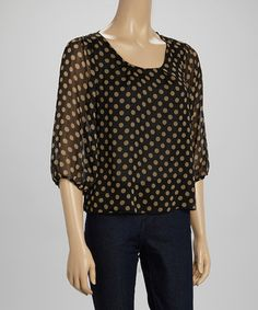 Look what I found on #zulily! Black & Taupe Polka Dot Three-Quarter Sleeve Top #zulilyfinds