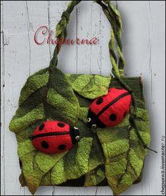 """Купить Сумка """"Леопарды насекомого мира"""" - зеленый, рисунок, весна, листья, божья коровка"""
