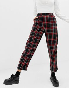 Shop the latest COLLUSION plaid check pants trends with ASOS! Plaid Outfits, Sweater Outfits, New Outfits, Stylish Outfits, Pantalon Tartan, Hijab Fashion, Fashion Outfits, Fashion Ideas, Tartan Pants