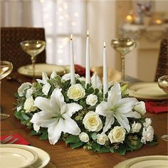 Shop Christmas flowers & gifts for delivery to celebrate the season! Find beautiful Christmas floral arrangements and holiday flowers. White Centerpiece, Glass Centerpieces, Holiday Centerpieces, Centrepieces, Christmas Flowers, All Things Christmas, Christmas Crafts, Christmas Decorations, Candle Decorations