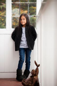 Winter clothing for girls by Leigh Tucker Willow Boy Fashion, Boy Or Girl, Winter Outfits, Floral Tops, Vest, Boys, Girls, Cuddle, Jackets