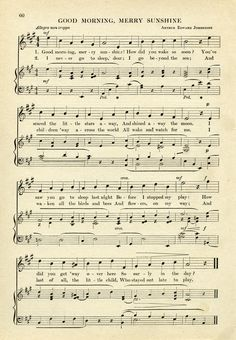 Good Morning Merry Sunshine ~ Free Vintage Sheet Music Graphic My Grandma used to sing this to me!