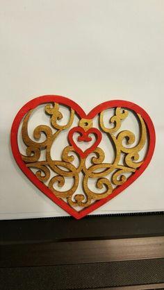Flat Wood heart, 2-sided