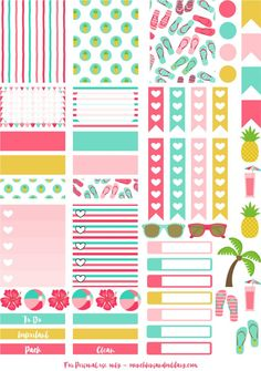 Tropical beach fun printable planner stickers - perfect for an Erin Condren Life Planner - cut file for Cricut and Silhouette To Do Planner, Free Planner, Erin Condren Life Planner, Planner Pages, Happy Planner, Planner Ideas, Summer Planner, Vacation Planner, Monthly Planner