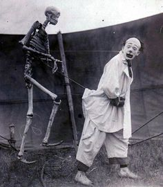 Clown with skeleton. Sparks Circus, 1923.