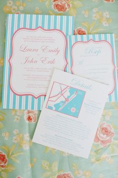Blue and pink invitation suite