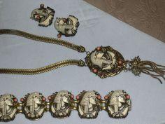 Vintage Selro Selini Egyptian Revival Pharaoh Parure Necklace Bracelet Earrings | eBay