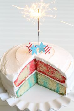 4th of July - Patriotic Poke Cake ♥