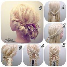 ギブソンタックの三つ編みバージョン  簡単で華やかなスタイルです^ ^✨✨ 1  サイドを真ん中で頭の凹みのところでゴム留めします!  2  サイドからみるとこんな感じです!  3  三つ編みを後ろ二つ作ります!このときほぐしてあるといいと思います  4  両サイドも作ります  5  あとはこれを巻きつけていき真ん中でピンで固定すれば完成です!  #hair#hairset#hairarrange#ヘアセット#ヘアアレンジ#結婚式ヘア#編み込み#wedding#ウエディング#アレンジ#braid#ヘアアレンジやり方#セルフアレンジ#ヘアアレンジ解説#ヘアアクセサリー#hairstyle#arrange#데일리#藤沢#高田馬場#高田馬場美容室#藤沢美容室#札幌#サッポロ