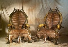 Animal skin chair - Exotic Primitive Furniture Design Ideas by Michel Haillard