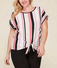 d32a1ebaa2e610 Love this Black  amp  Coral Stripe Drop-Shoulder Top - Plus on  zulily