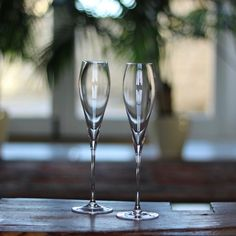 Elegant Set of 2 Crystal Champagne Flutes by Lunar Oceans