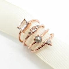 We're in love with rose gold. Which ring do you adore the most? Jewelry Design, Jewelry Ideas, Gold Rings, Wedding Rings, Bling, Rose Gold, Stud Earrings, Engagement Rings, Jewels