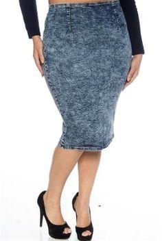 piniful.com plus size denim skirt (03) #plussizefashion