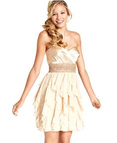 Roberta Juniors Dress, Strapless Ruffle Beaded - Juniors Dresses - Macy's