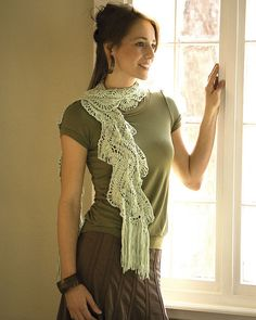 Beautiful hairpin lace scarf.