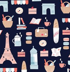 Everything we love about Paris pattern. Illustration by ©Clare Owen. Represented by i2i Art Inc. #i2iart