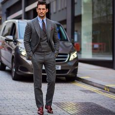 Day 3 - LCM - Day three saw the return of David Gandy's favourite look: the  classic three piece suit. Staying with the grey colour palette for his  daytime ...