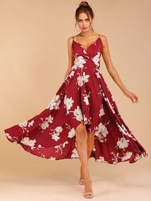 To find out about the Floral Print Tulip Hem Surplice Cami Dress at SHEIN, part of our latest Dresses ready to shop online today! Shirred Dress, Belted Dress, Floral Maxi Dress, Boho Dress, Hippie Dresses, Style Année 60, Dress Out, Gingham Dress, Burgundy Dress