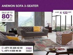 The Anemon three-seater sofa is casual in color, but at the same time dramatic in design, this two-cushion sofa is inviting and can create a charming and sophisticated statement in Your sitting area or living room. With wide slightly curved arms, soft gray fabric and button-tufting on the back seat and arms, it will make Your sitting or stretching out comfortable and relaxing. More details: http://gtfshop.com/anemon-sofa-3-seater