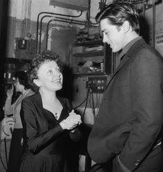 Edith Piaf and Alain Delon, 1959