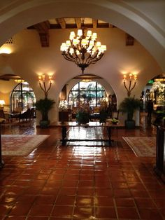 spanish colonial accessories | The Spanish colonial-style lobby at the Four Seasons Santa Barbara ...