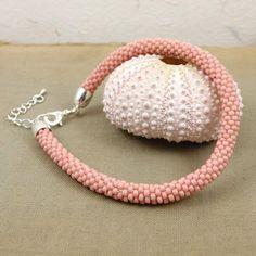 Beaded bracelet, beads crochet rope bracelet , beadwork jewelry , pastel pink bracelet