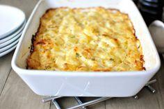 Homemade Cheesy Potatoes l www.SimplyScratch.com Cheesy Potato Bake, Cheesy Potatoes, Mexican Chicken Recipes, Potato Casserole, Casserole Recipes, Potato Dishes, Potato Recipes, Batch Cooking, Best Dishes